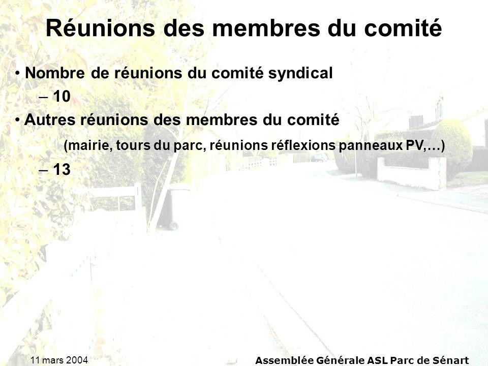 11 mars 2004 Assemblée Générale ASL Parc de Sénart Réunions des membres du comité Nombre de réunions du comité syndical – 10 Autres réunions des membres du comité (mairie, tours du parc, réunions réflexions panneaux PV,…) – 13