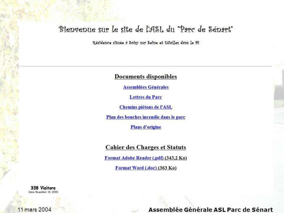 11 mars 2004 Assemblée Générale ASL Parc de Sénart