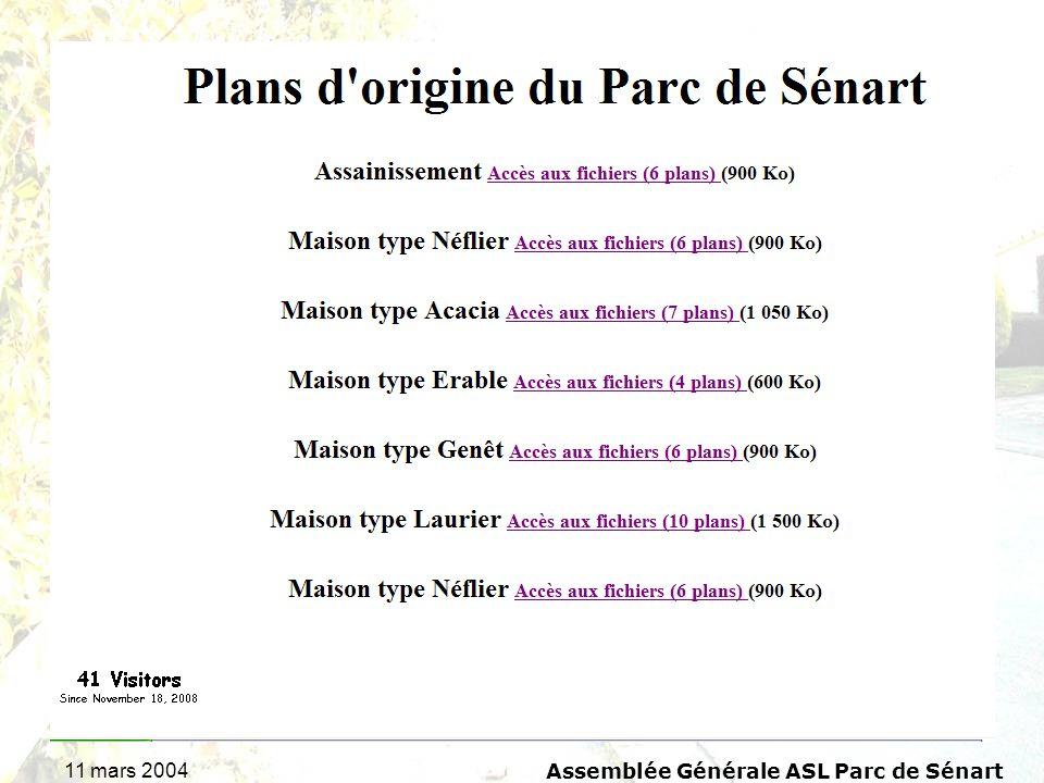 11 mars 2004 Assemblée Générale ASL Parc de Sénart Questions diverses