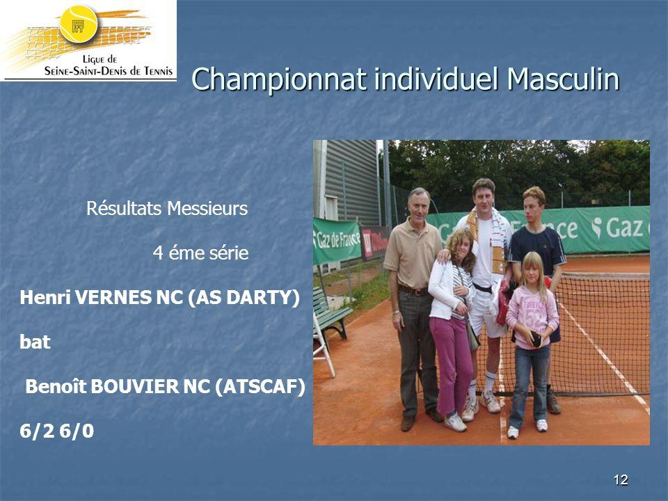 12 Championnat individuel Masculin Résultats Messieurs 4 éme série Henri VERNES NC (AS DARTY) bat Benoît BOUVIER NC (ATSCAF) 6/2 6/0