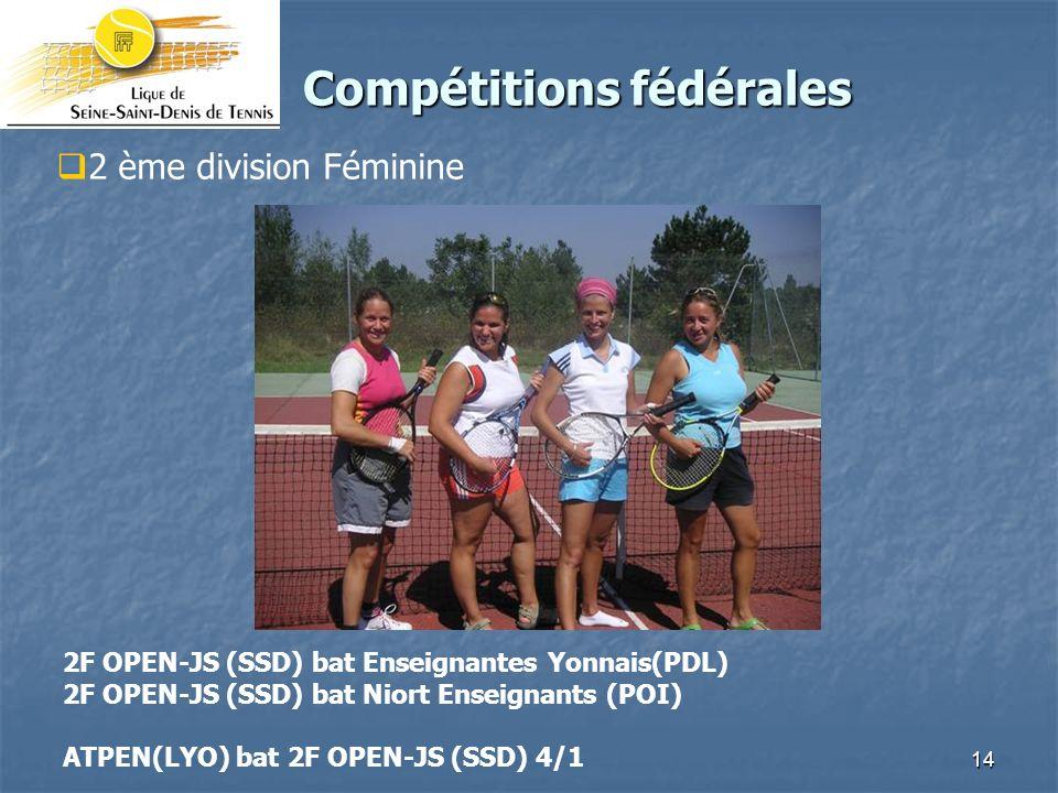 14 Compétitions fédérales Compétitions fédérales 2 ème division Féminine 2F OPEN-JS (SSD) bat Enseignantes Yonnais(PDL) 2F OPEN-JS (SSD) bat Niort Enseignants (POI) ATPEN(LYO) bat 2F OPEN-JS (SSD) 4/1