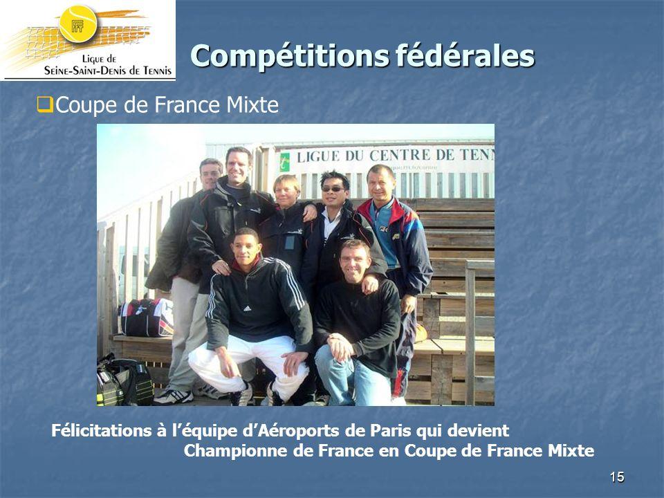 15 Compétitions fédérales Compétitions fédérales Coupe de France Mixte Félicitations à léquipe dAéroports de Paris qui devient Championne de France en Coupe de France Mixte