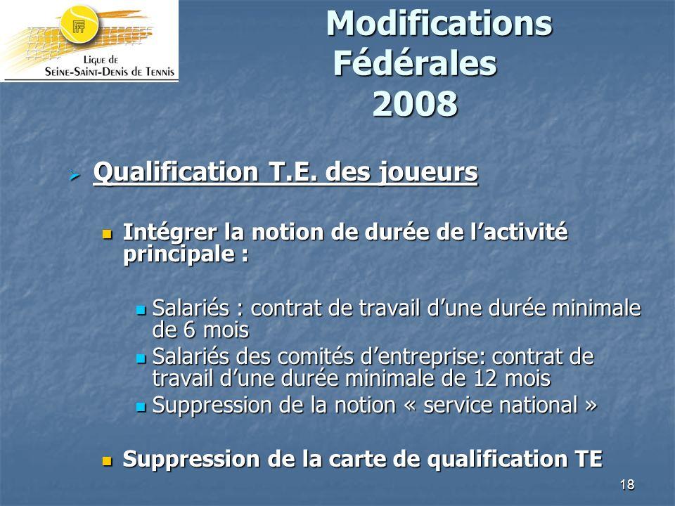18 Modifications Fédérales 2008 Modifications Fédérales 2008 Qualification T.E.