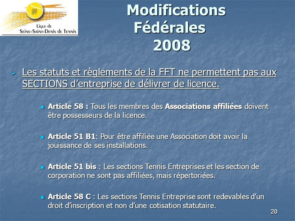 20 Modifications Fédérales 2008 Modifications Fédérales 2008 Les statuts et règlements de la FFT ne permettent pas aux SECTIONS dentreprise de délivrer de licence.