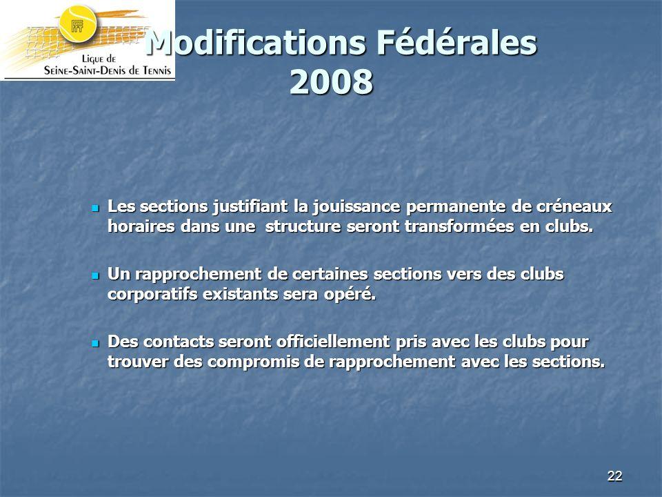 22 Modifications Fédérales 2008 Modifications Fédérales 2008 Les sections justifiant la jouissance permanente de créneaux horaires dans une structure seront transformées en clubs.