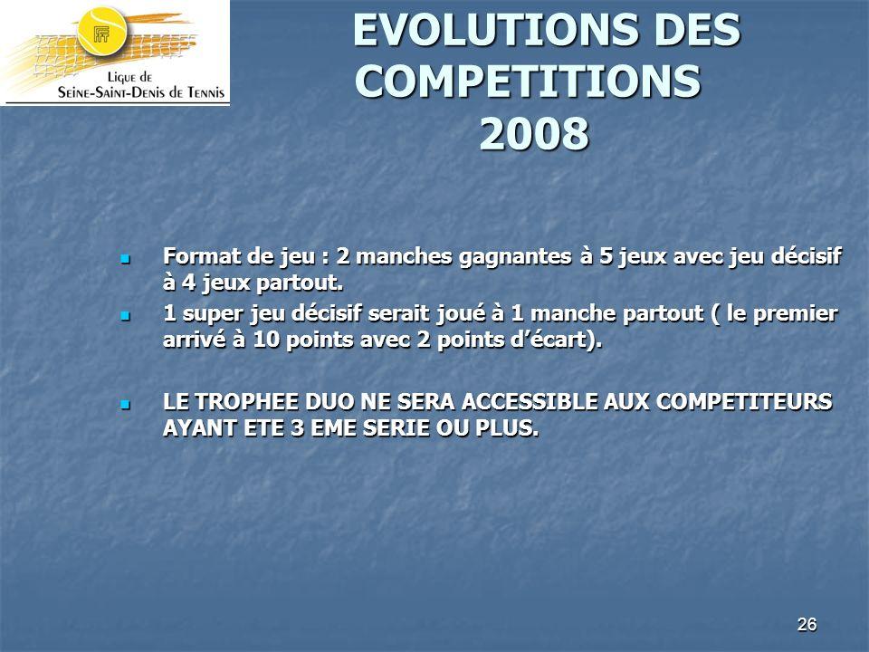 26 EVOLUTIONS DES COMPETITIONS 2008 EVOLUTIONS DES COMPETITIONS 2008 Format de jeu : 2 manches gagnantes à 5 jeux avec jeu décisif à 4 jeux partout.