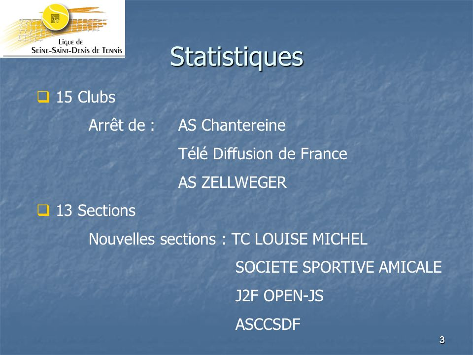3 Statistiques 15 Clubs Arrêt de : AS Chantereine Télé Diffusion de France AS ZELLWEGER 13 Sections Nouvelles sections : TC LOUISE MICHEL SOCIETE SPOR