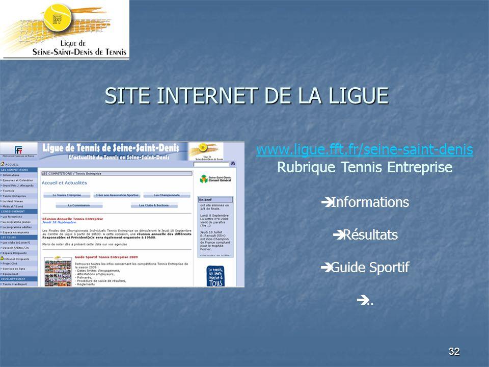 32 SITE INTERNET DE LA LIGUE www.ligue.fft.fr/seine-saint-denis Rubrique Tennis Entreprise Informations Résultats Guide Sportif …