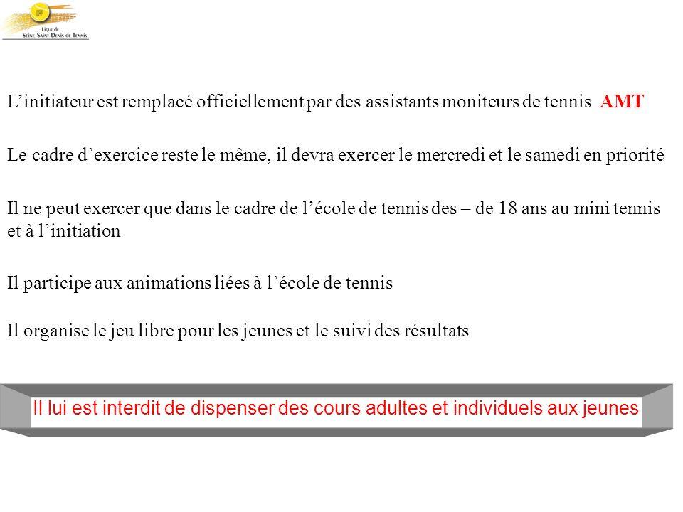Linitiateur est remplacé officiellement par des assistants moniteurs de tennis AMT Le cadre dexercice reste le même, il devra exercer le mercredi et l