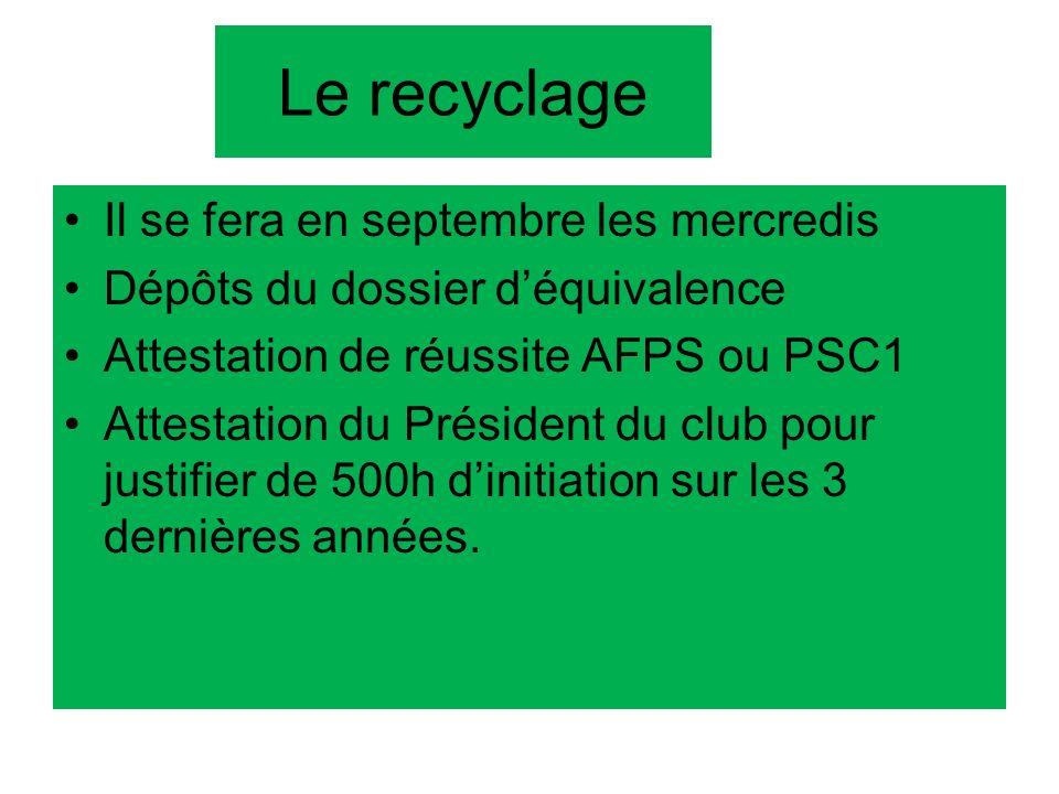 Le recyclage Il se fera en septembre les mercredis Dépôts du dossier déquivalence Attestation de réussite AFPS ou PSC1 Attestation du Président du clu