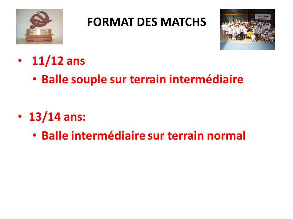 FORMAT DES MATCHS 11/12 ans Balle souple sur terrain intermédiaire 13/14 ans: Balle intermédiaire sur terrain normal