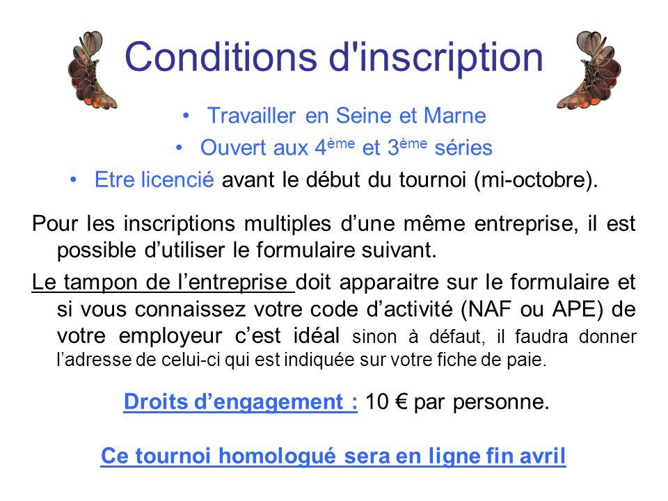 Travailler en Seine et Marne Ouvert aux 4 ème et 3 ème séries Etre licencié avant le début du tournoi (mi-octobre).