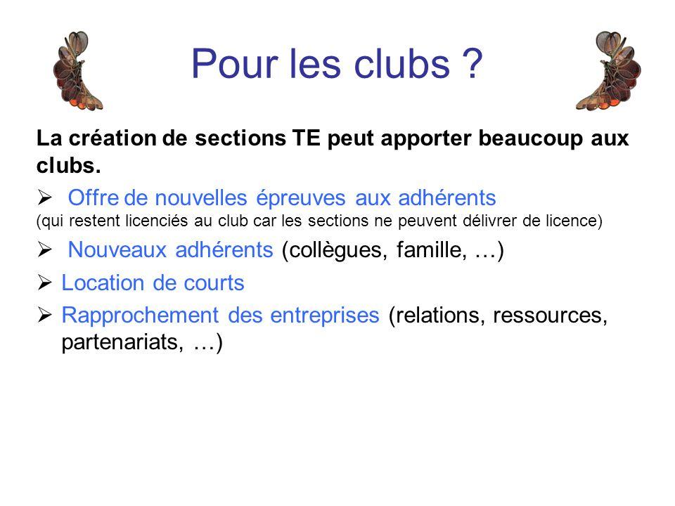 La création de sections TE peut apporter beaucoup aux clubs.