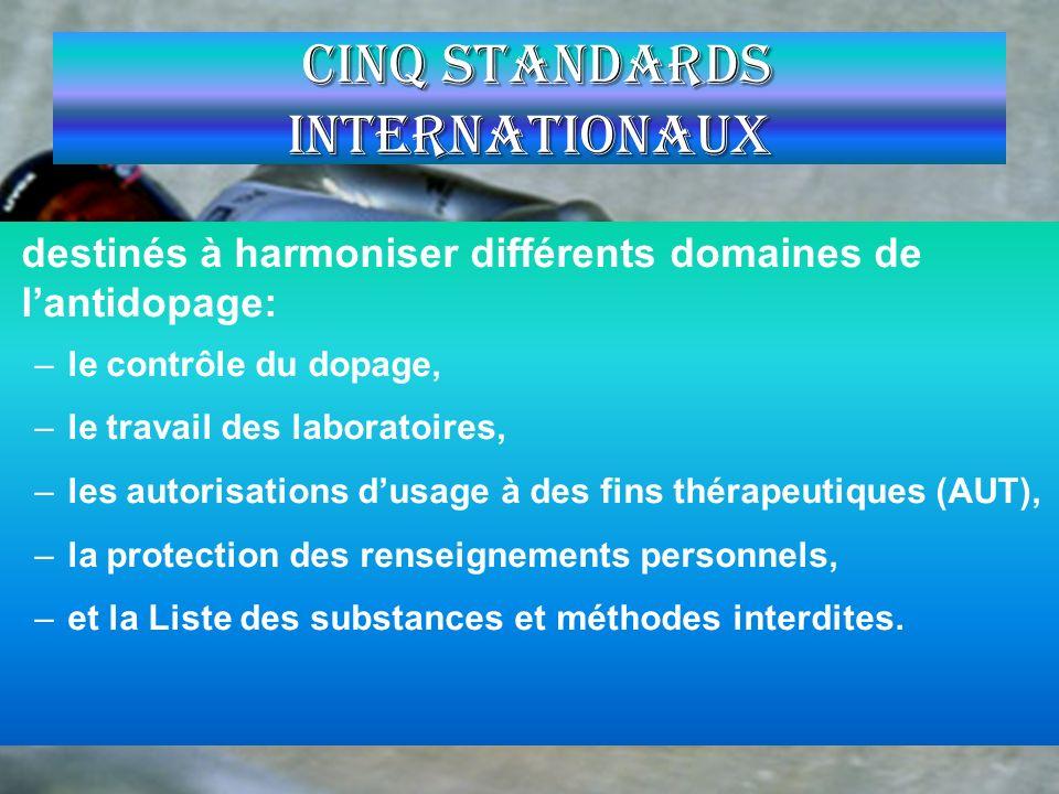 Cinq Standards Internationaux destinés à harmoniser différents domaines de lantidopage: –le contrôle du dopage, –le travail des laboratoires, –les aut