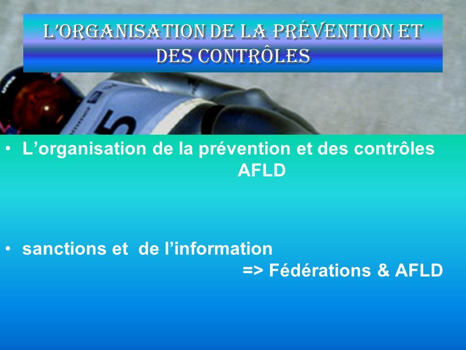 Lorganisation de la prévention et des contrôles Lorganisation de la prévention et des contrôles AFLD sanctions et de linformation => Fédérations & AFL