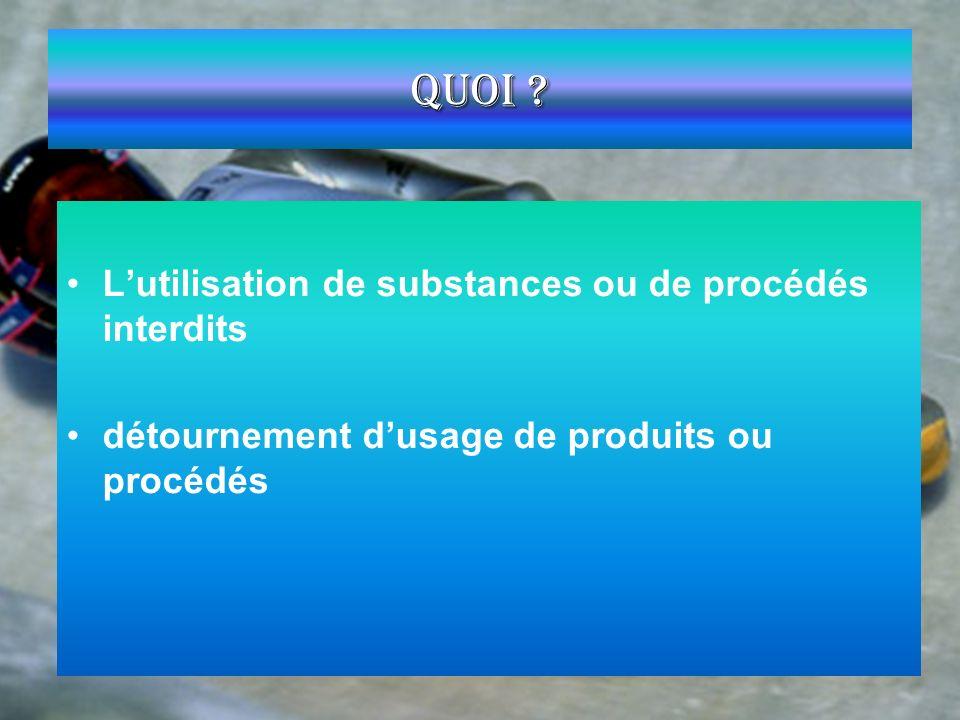 Quoi ? Lutilisation de substances ou de procédés interdits détournement dusage de produits ou procédés