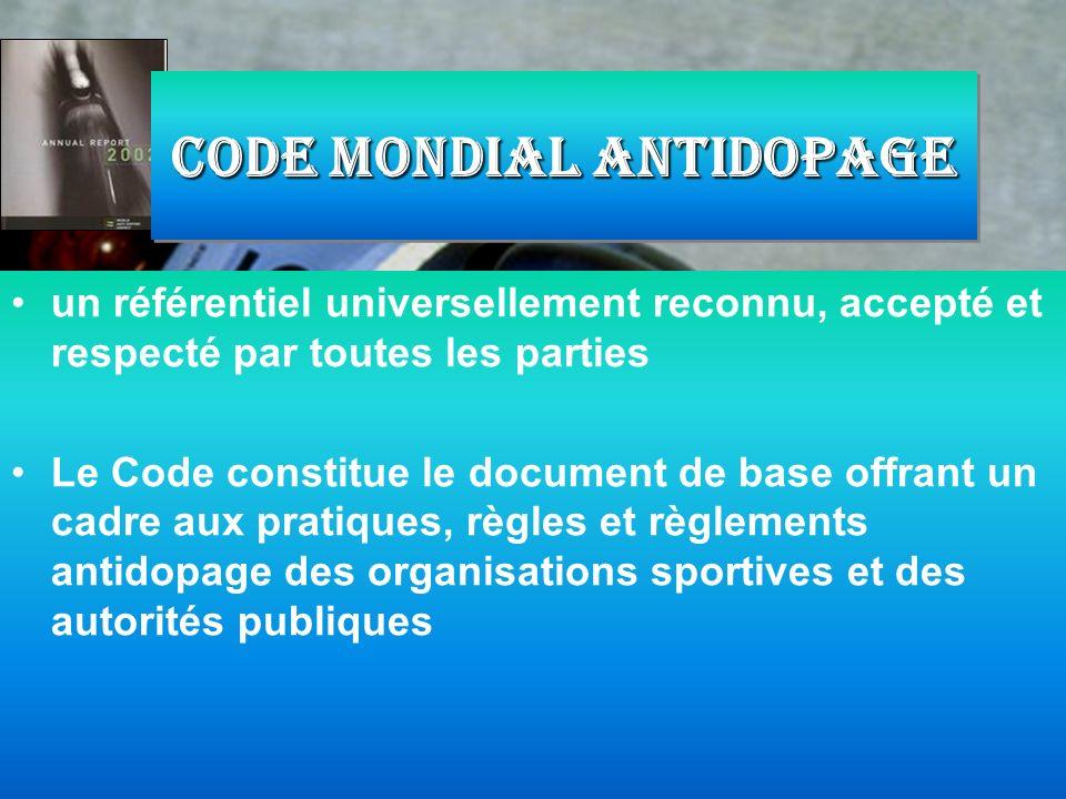 un référentiel universellement reconnu, accepté et respecté par toutes les parties Le Code constitue le document de base offrant un cadre aux pratique