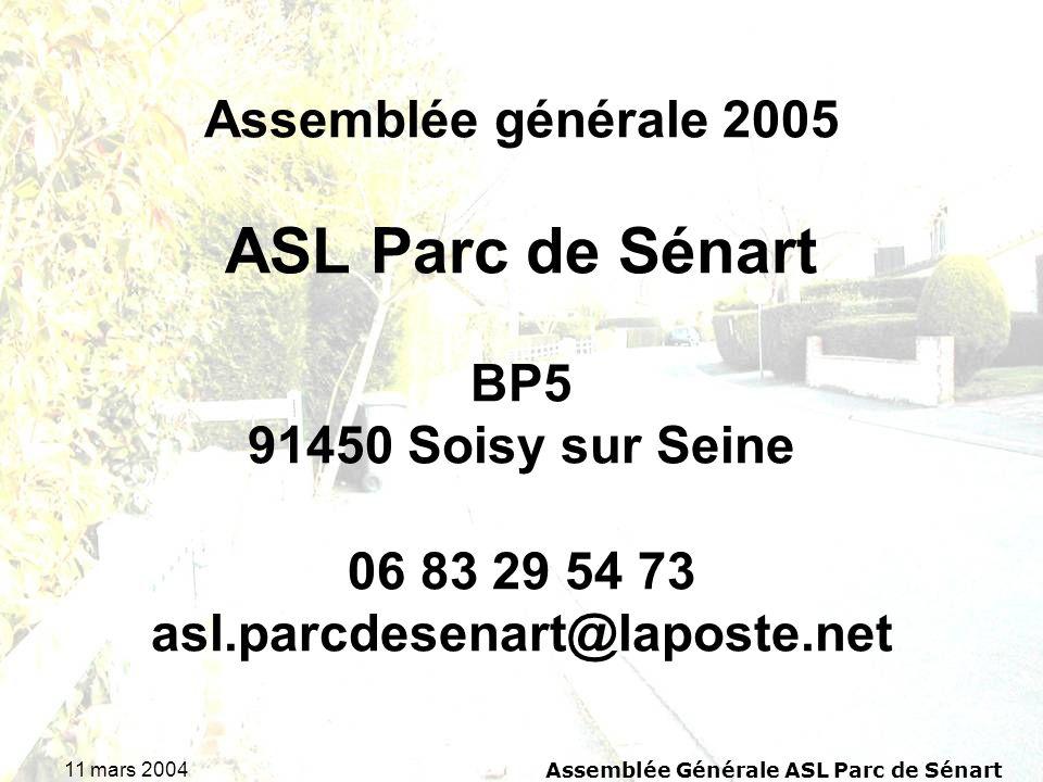11 mars 2004Assemblée Générale ASL Parc de Sénart Projet de budget 2005 Ce projet de budget donne un appel de fond brut pour 2005 de 51,005 par lot (27 492/539), minoré par le solde créditeur de 11,005 cela donne un appel de fond net de 40 par lot.