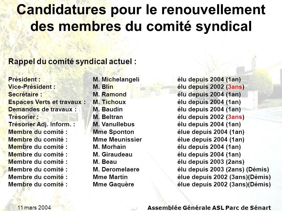 11 mars 2004Assemblée Générale ASL Parc de Sénart Candidatures pour le renouvellement des membres du comité syndical Rappel du comité syndical actuel
