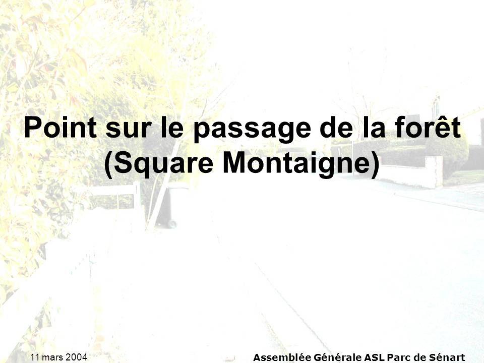 11 mars 2004Assemblée Générale ASL Parc de Sénart Point sur le passage de la forêt (Square Montaigne)