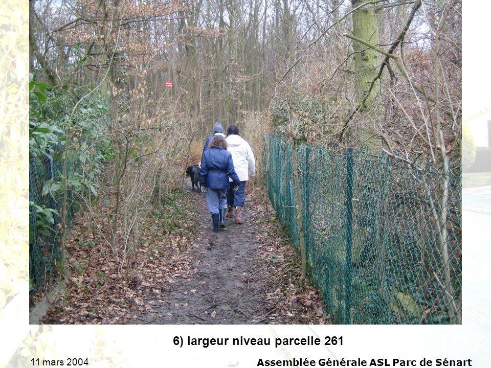 11 mars 2004Assemblée Générale ASL Parc de Sénart 6) largeur niveau parcelle 261