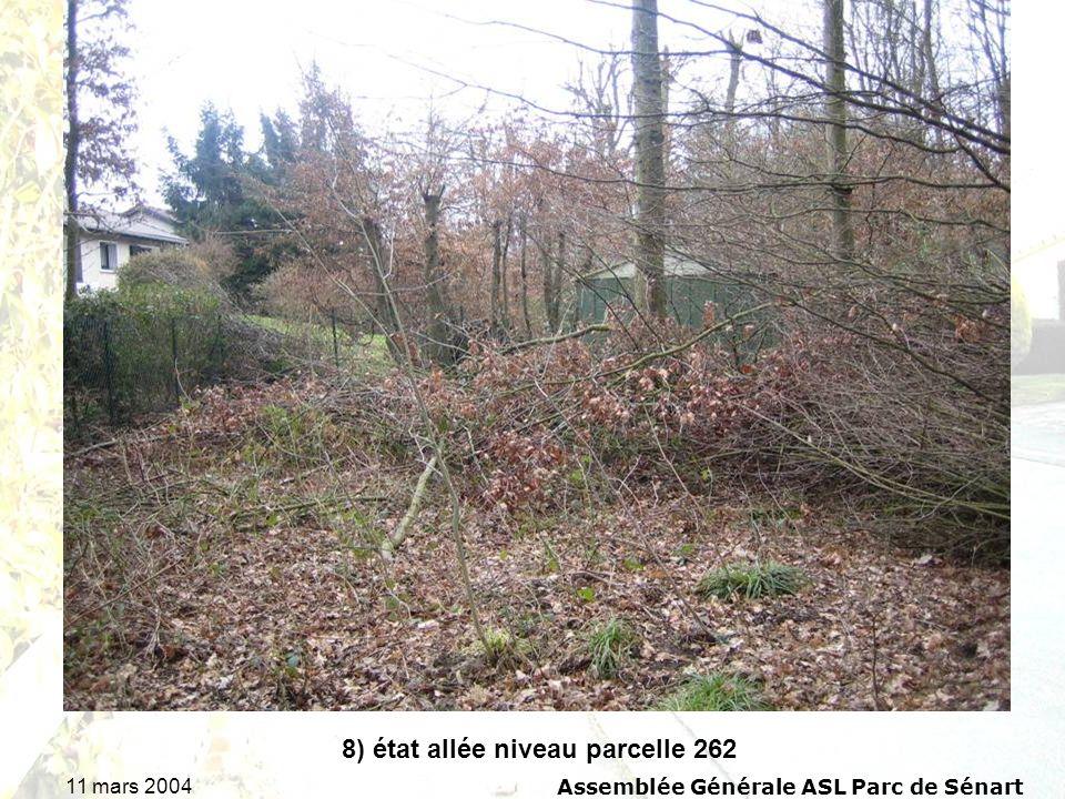 11 mars 2004Assemblée Générale ASL Parc de Sénart 8) état allée niveau parcelle 262