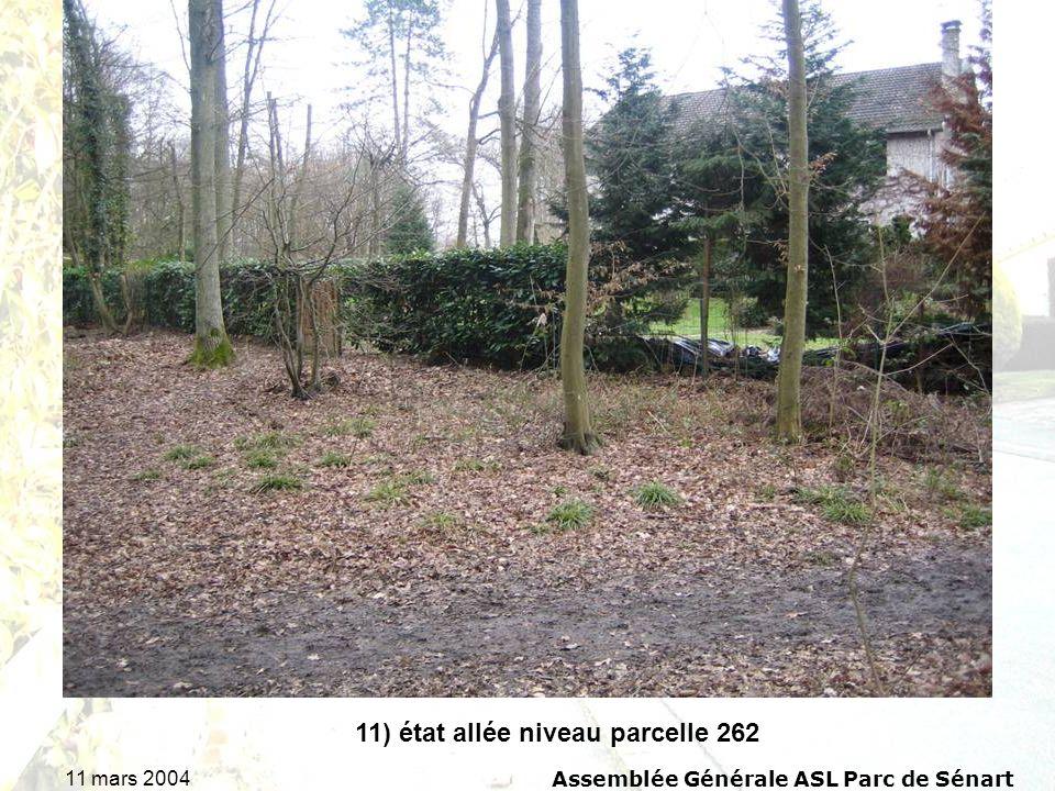 11 mars 2004Assemblée Générale ASL Parc de Sénart 11) état allée niveau parcelle 262