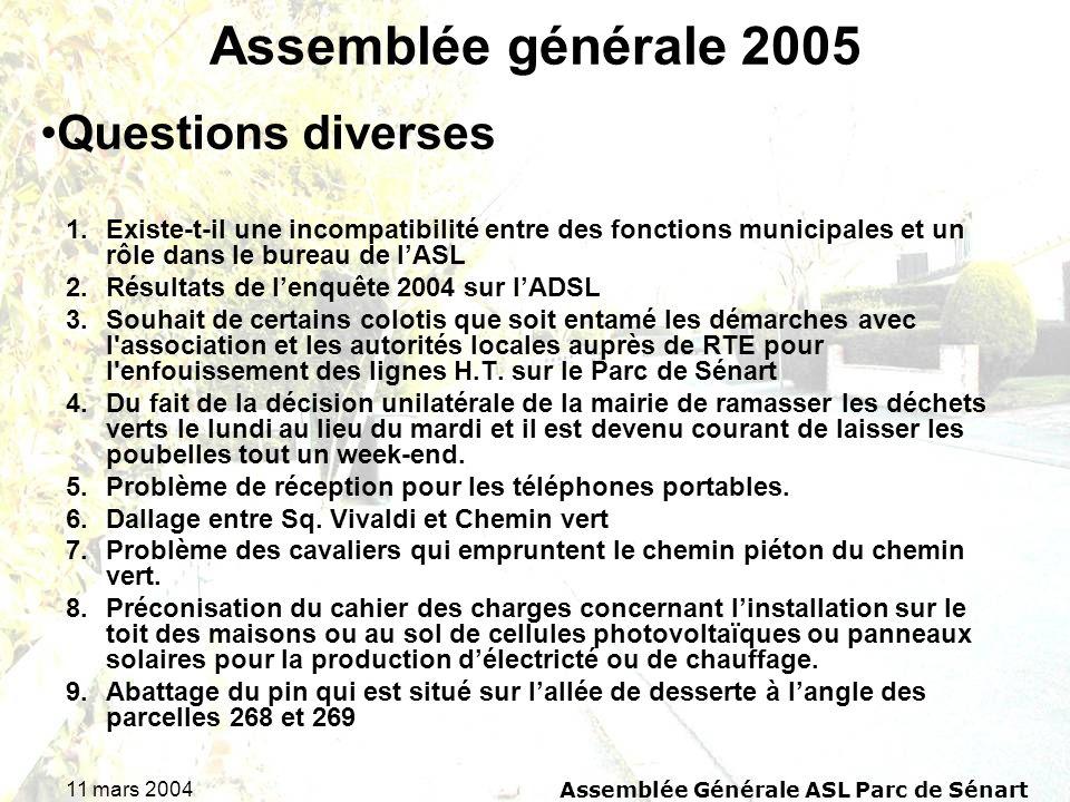 11 mars 2004Assemblée Générale ASL Parc de Sénart Assemblée générale 2005 1.Existe-t-il une incompatibilité entre des fonctions municipales et un rôle