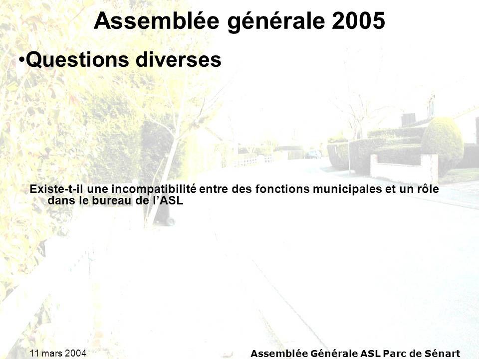 11 mars 2004Assemblée Générale ASL Parc de Sénart Assemblée générale 2005 Existe-t-il une incompatibilité entre des fonctions municipales et un rôle d