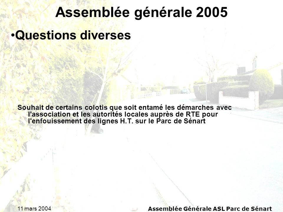 11 mars 2004Assemblée Générale ASL Parc de Sénart Assemblée générale 2005 Souhait de certains colotis que soit entamé les démarches avec l'association