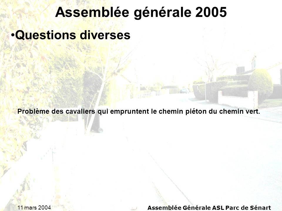 11 mars 2004Assemblée Générale ASL Parc de Sénart Assemblée générale 2005 Problème des cavaliers qui empruntent le chemin piéton du chemin vert. Quest