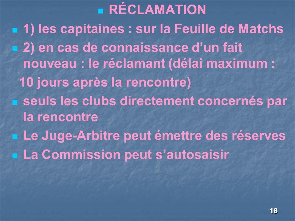 16 RÉCLAMATION 1) les capitaines : sur la Feuille de Matchs 2) en cas de connaissance dun fait nouveau : le réclamant (délai maximum : 10 jours après la rencontre) seuls les clubs directement concernés par la rencontre Le Juge-Arbitre peut émettre des réserves La Commission peut sautosaisir