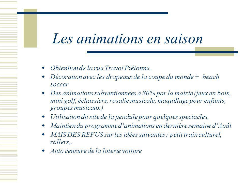 Les animations en saison Obtention de la rue Travot Piétonne. Décoration avec les drapeaux de la coupe du monde + beach soccer Des animations subventi