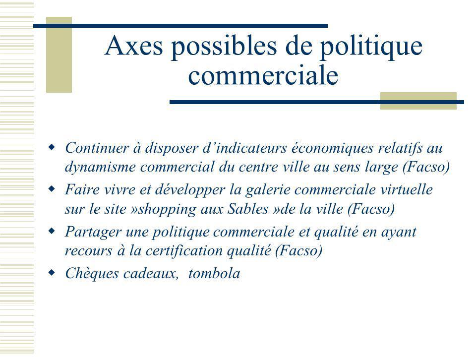 Axes possibles de politique commerciale Continuer à disposer dindicateurs économiques relatifs au dynamisme commercial du centre ville au sens large (