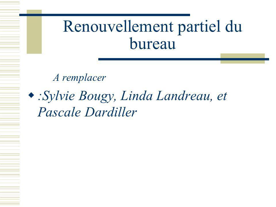 Renouvellement partiel du bureau A remplacer :Sylvie Bougy, Linda Landreau, et Pascale Dardiller