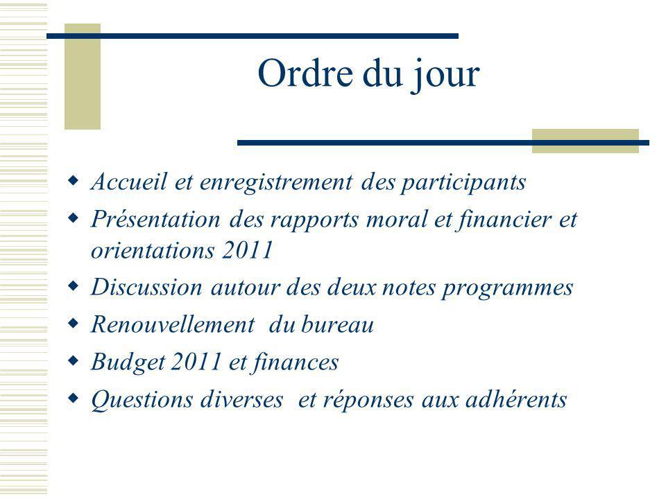 Ordre du jour Accueil et enregistrement des participants Présentation des rapports moral et financier et orientations 2011 Discussion autour des deux