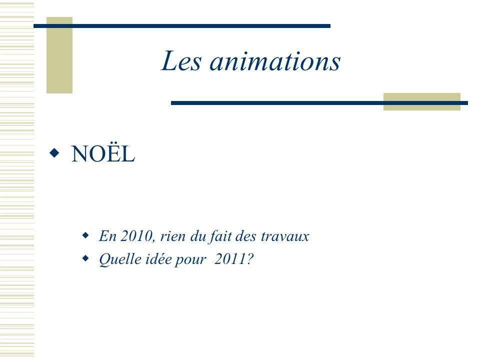 Les animations NOËL En 2010, rien du fait des travaux Quelle idée pour 2011?