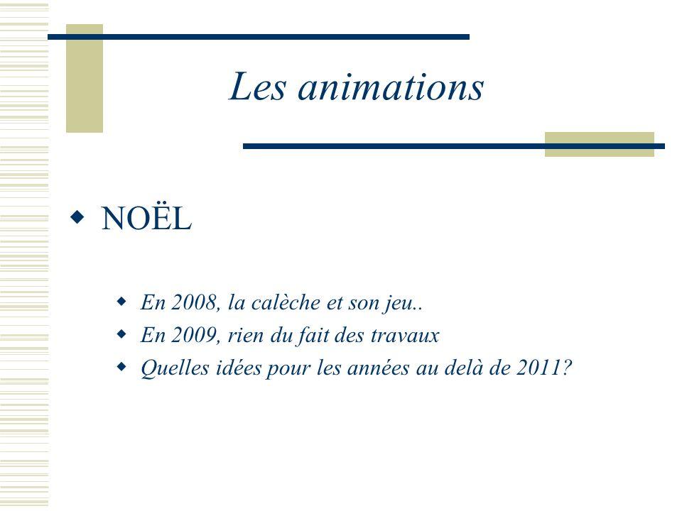 Les animations NOËL En 2008, la calèche et son jeu.. En 2009, rien du fait des travaux Quelles idées pour les années au delà de 2011?