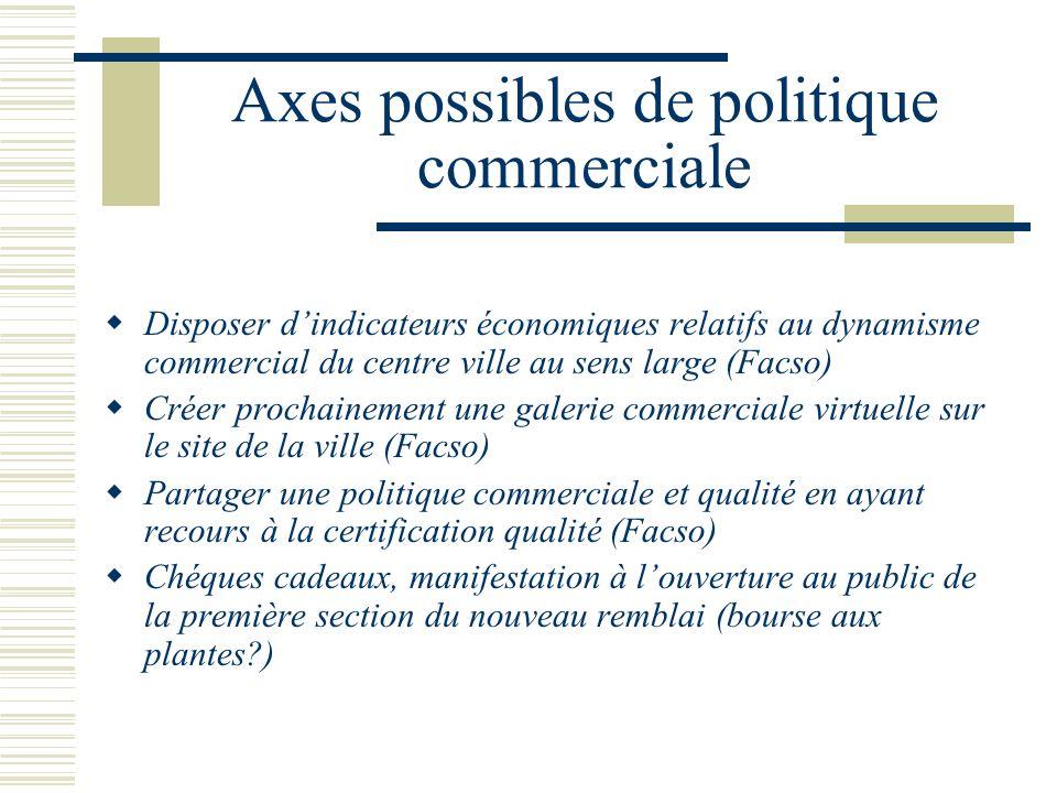 Axes possibles de politique commerciale Disposer dindicateurs économiques relatifs au dynamisme commercial du centre ville au sens large (Facso) Créer