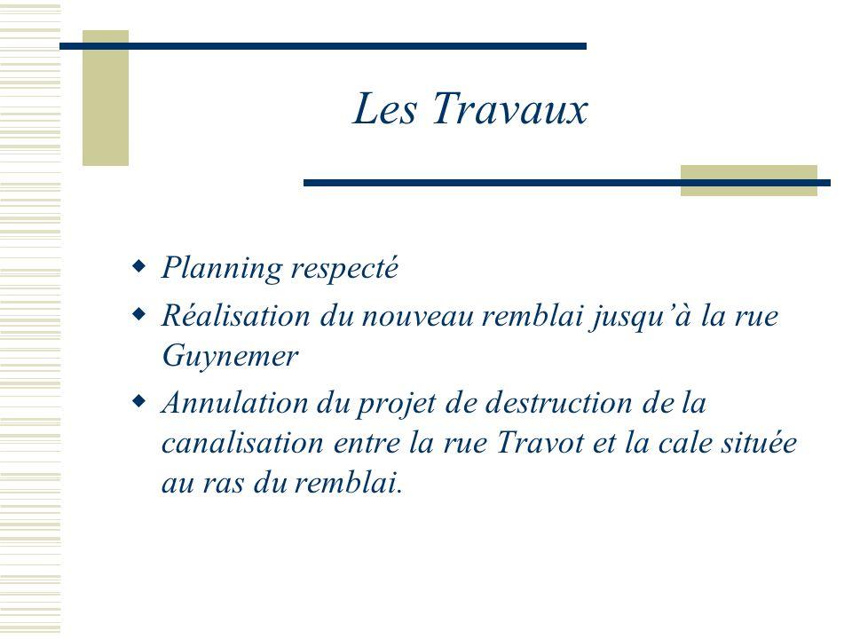 Les Travaux Planning respecté Réalisation du nouveau remblai jusquà la rue Guynemer Annulation du projet de destruction de la canalisation entre la rue Travot et la cale située au ras du remblai.