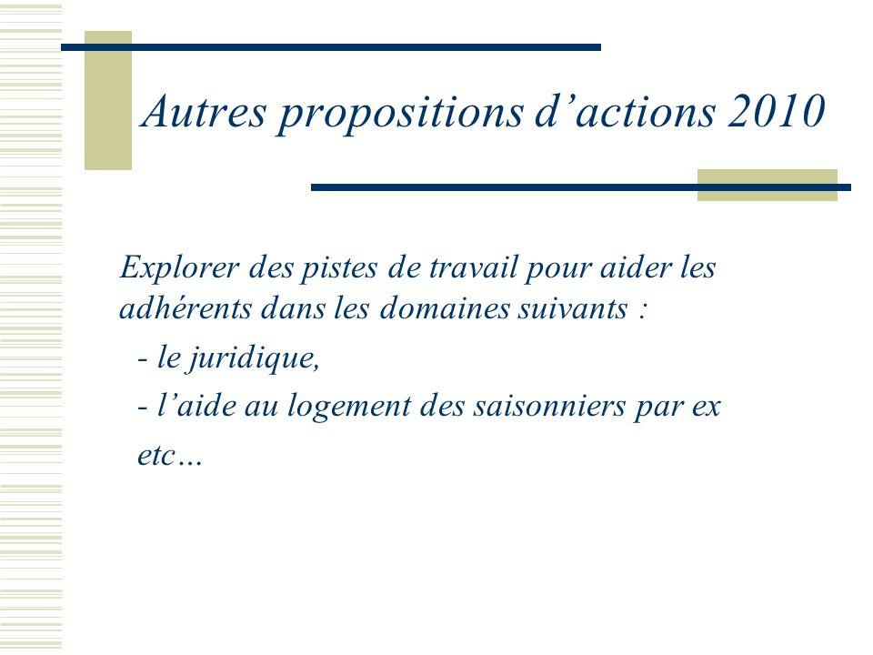 Autres propositions dactions 2010 Explorer des pistes de travail pour aider les adhérents dans les domaines suivants : - le juridique, - laide au logement des saisonniers par ex etc…