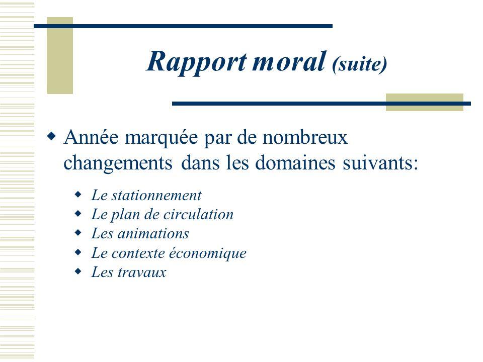 Rapport moral (suite) Année marquée par de nombreux changements dans les domaines suivants: Le stationnement Le plan de circulation Les animations Le