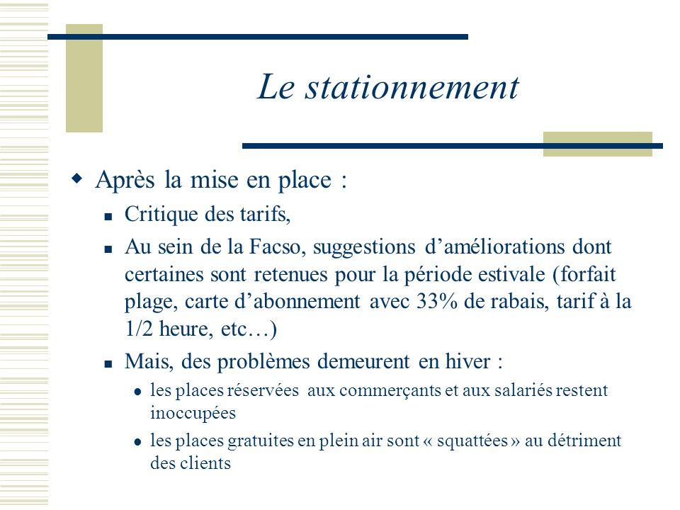 Le stationnement Après la mise en place : Critique des tarifs, Au sein de la Facso, suggestions daméliorations dont certaines sont retenues pour la pé
