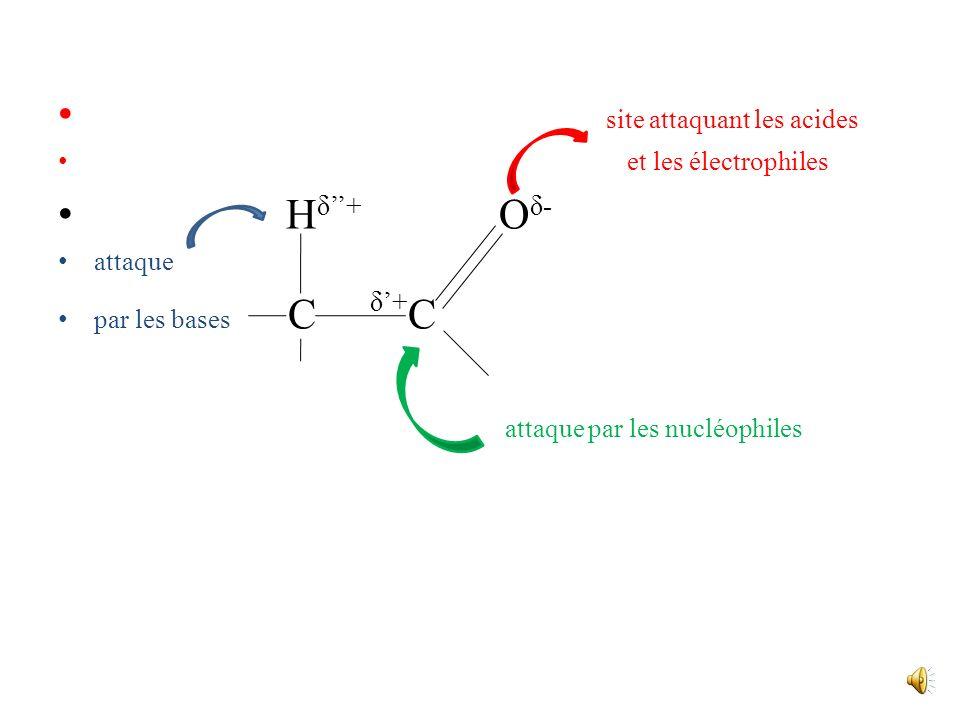 CH C C C O OH aldéhyde, cétone énol Létablissement de cet équilibre est catalysé à la fois par un milieu basique et par un milieu acide; son existence
