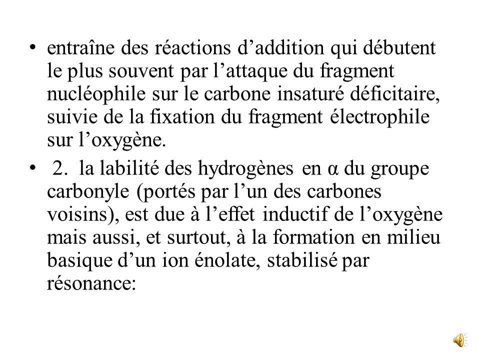 et un effet inductif-attractif sur les liaisons voisines: H δ+ δ+ C C δ- O les principales réactions des aldéhydes et des cétones ont presque toutes p