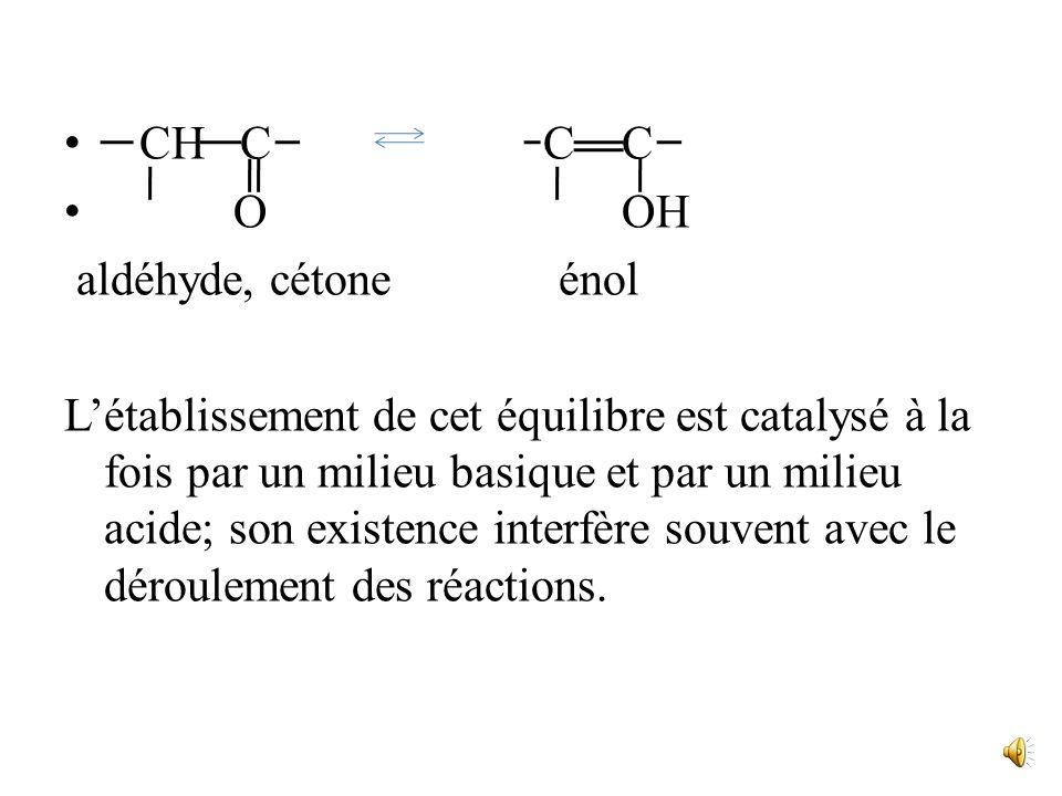 H :B - + C C BH + - C C O O C C O – par ailleurs, les aldéhydes et les cétones, qui possèdent au moins un H en α du carbonyle, donne lieu à léquilibre