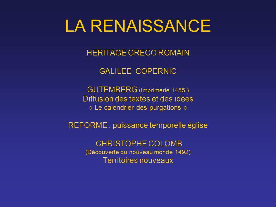 LA RENAISSANCE HERITAGE GRECO ROMAIN GALILEE COPERNIC GUTEMBERG (Imprimerie 1455 ) Diffusion des textes et des idées « Le calendrier des purgations »