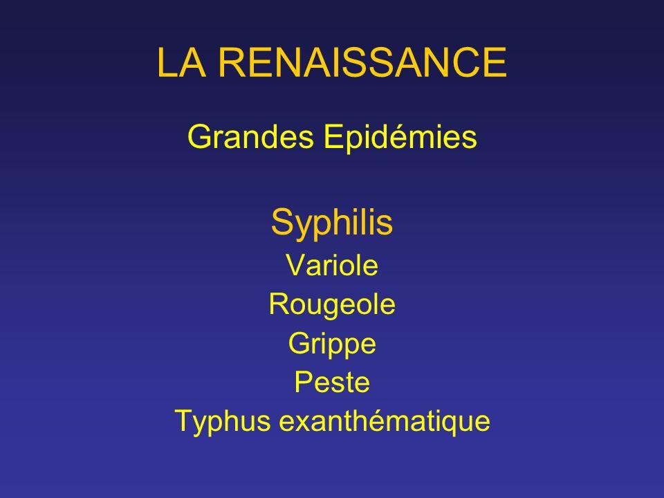 LA RENAISSANCE Grandes Epidémies Syphilis Variole Rougeole Grippe Peste Typhus exanthématique