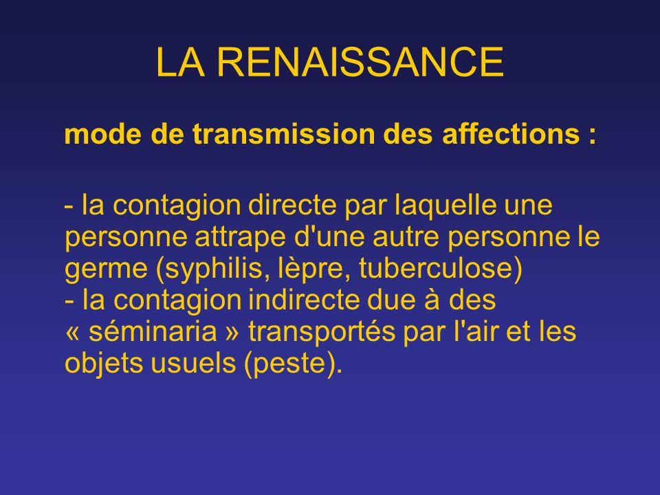 LA RENAISSANCE mode de transmission des affections : - la contagion directe par laquelle une personne attrape d'une autre personne le germe (syphilis,
