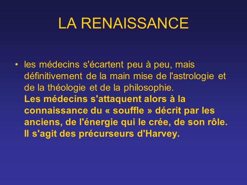 LA RENAISSANCE les médecins s'écartent peu à peu, mais définitivement de la main mise de l'astrologie et de la théologie et de la philosophie. Les méd